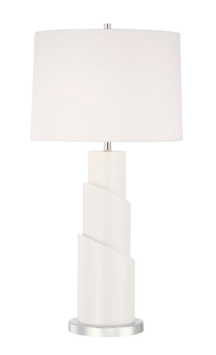 Baker Table Lamp, Chrome/White