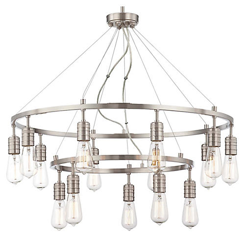 Downtown Edison Chandelier, Nickel