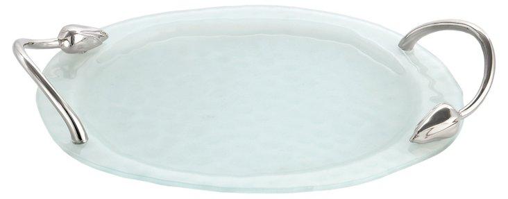 "Lotus Blossom Glass Tray, 15"""