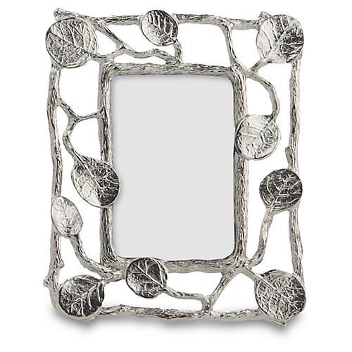 Mini Botanical Leaf Frame, Silver
