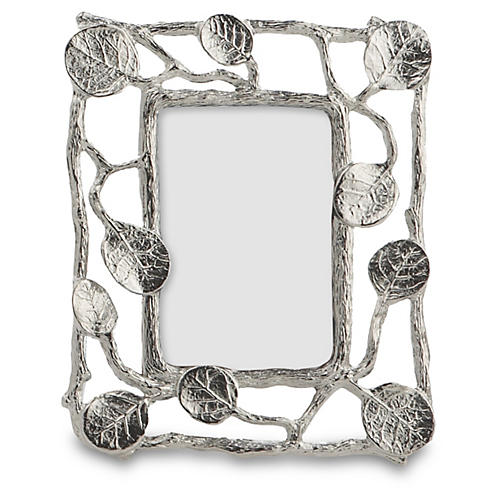 Mini Botanical Leaf Frame, Silver