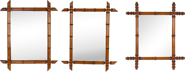 Faux-Bamboo Mirrors, Set of 3
