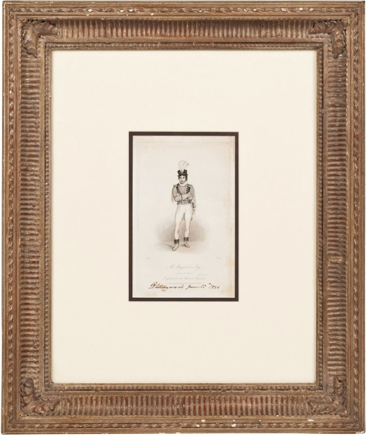 Framed Print,  Man w/Feathered Hat
