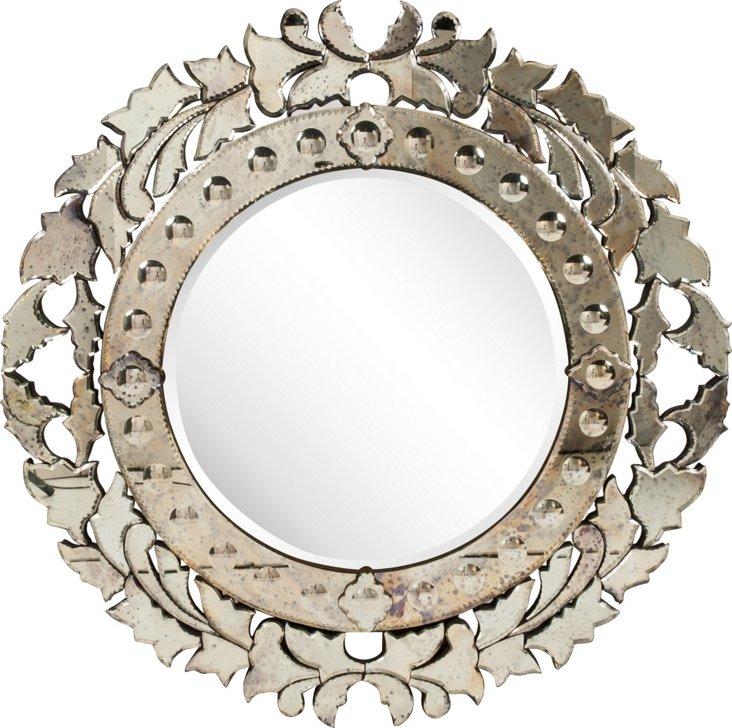 Round Venetian Glass Mirror I