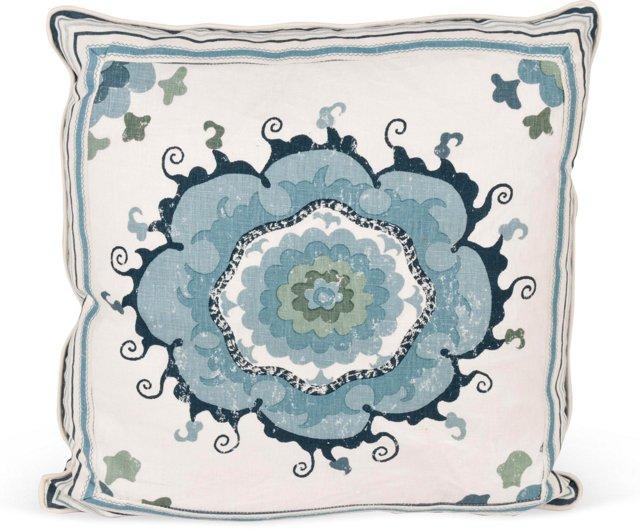 MLB Sultan's Suzani Pillow, Blue II