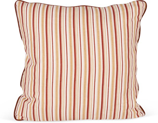 Turkish Ticking Red Tan Pillow