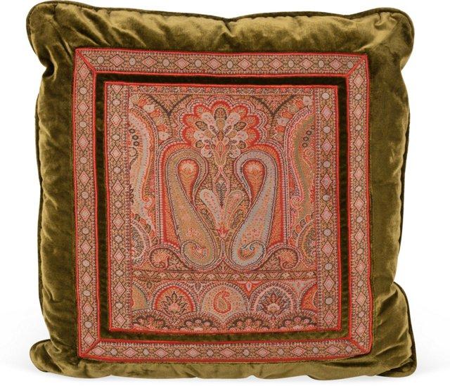 Antique Silk Velvet Paisley Pillow
