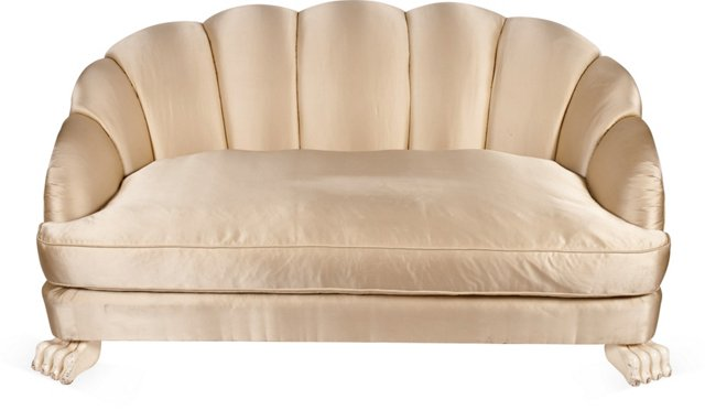 Serge Roche-Style Oyster Satin Sofa