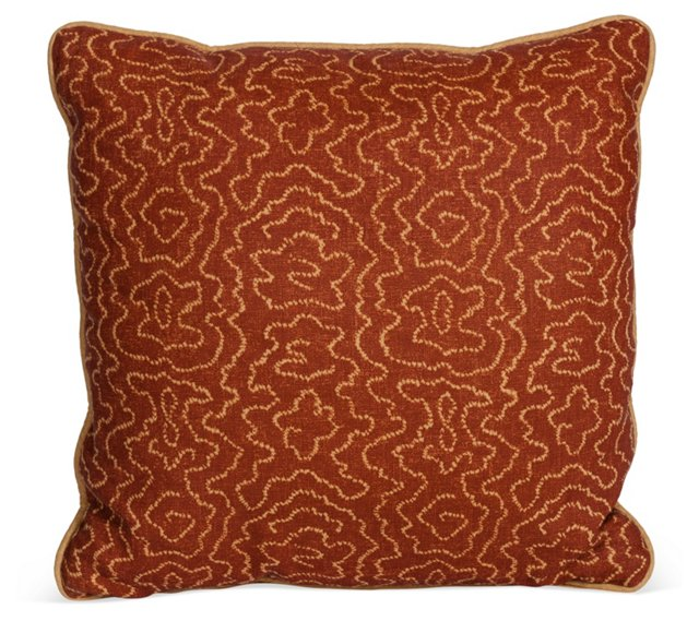 MLB Faux Bois Pillow, Cinnamon