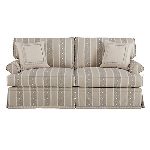 "Montrose 78"" Sofa, Jute Jaipur Stripe"