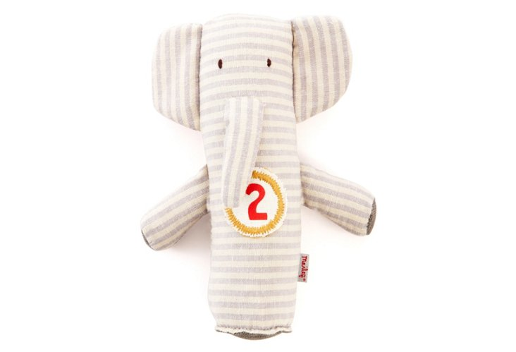 Elephant Baby Rattle, White Stripe
