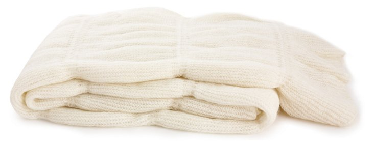 Ruffle Throw, Ecru