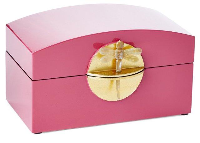 "9""  Lacquer Dragonfly Box, Fuchsia"