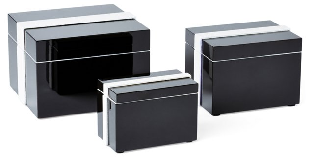 Asst. of 3 Lacquer Boxes, Black