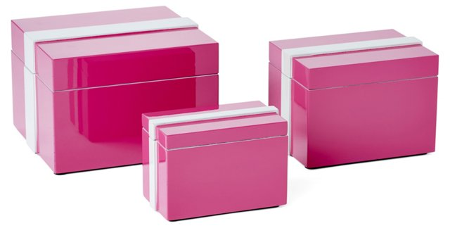 Pink Lacquer Boxes, Asst. of 3