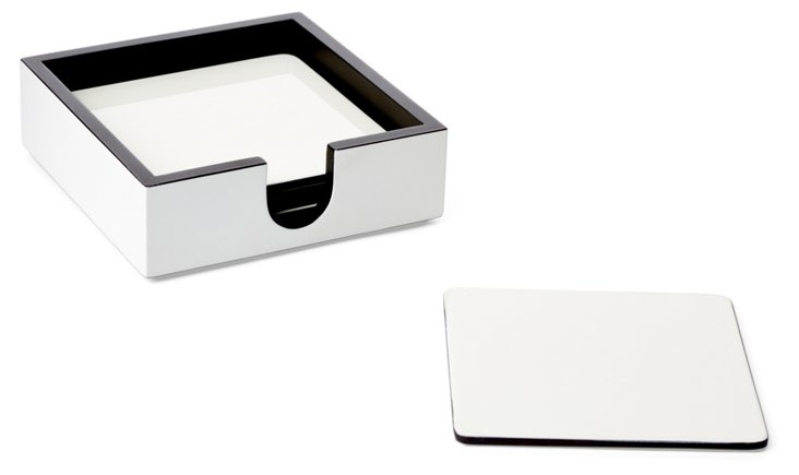 S/6 White Lacquer Coasters w/ Holder