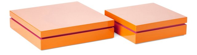 Asst. of 2 Lacquer Boxes, Orange