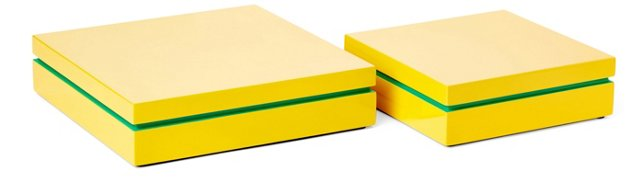 Asst. of 2 Lacquer Boxes, Yellow