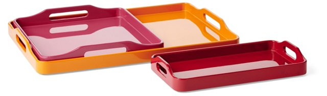 Asst. of 3 Stackable Trays, Citrus