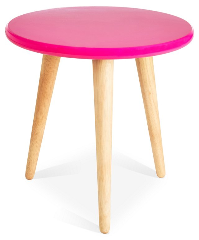 High Lacquer Stool, Pink