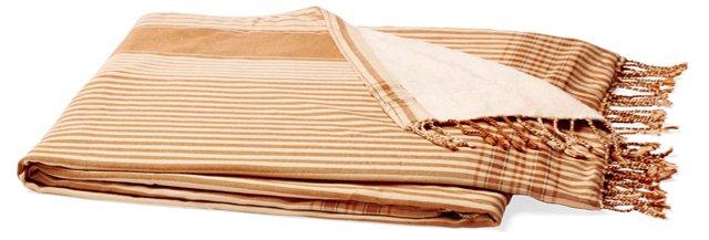 Stripes Cotton Beach Blanket, Beige