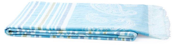 Paisley Cotton Throw, Turquoise
