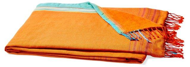 Stripes Cotton Beach Blanket, Orange