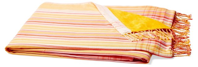 Stripes Cotton Beach Blanket, Orange