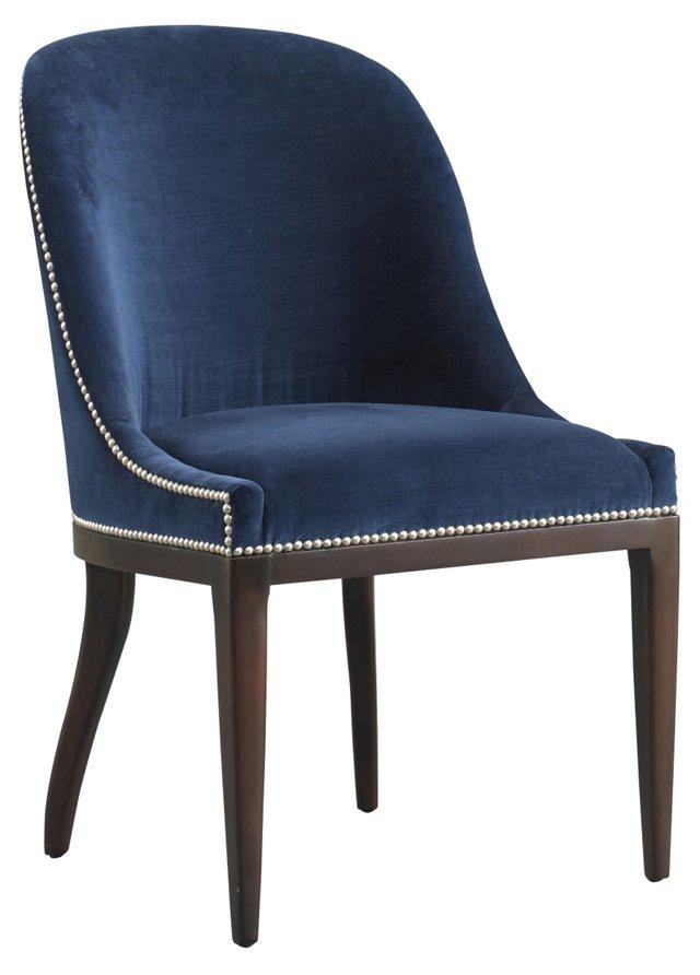 Maurice Velvet Side Chair, Navy