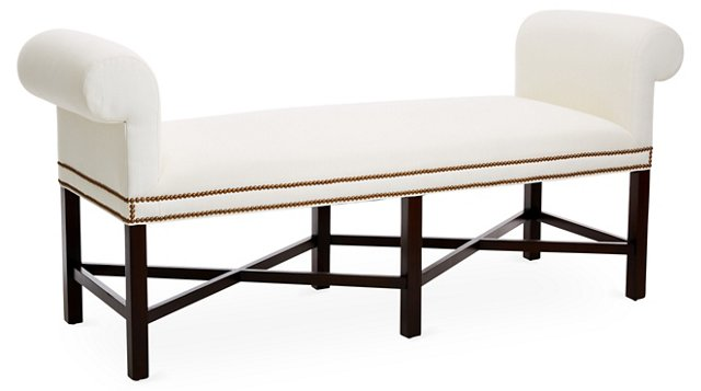 Armagnac Roll-Arm Bench, White