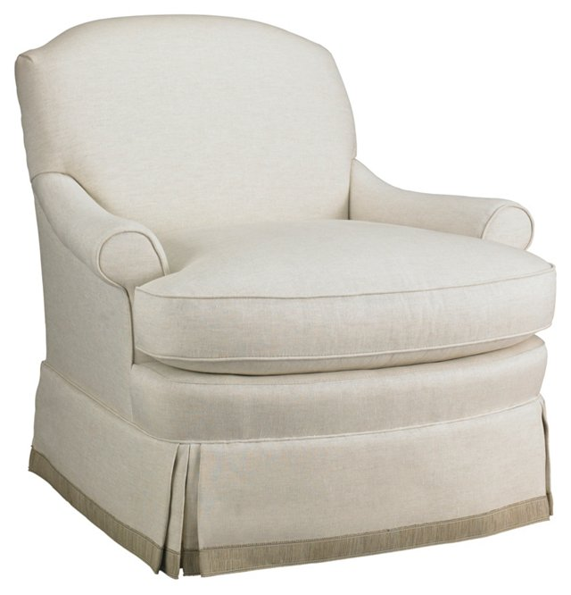 Biscayne Skirted Chair, Off-White/Beige