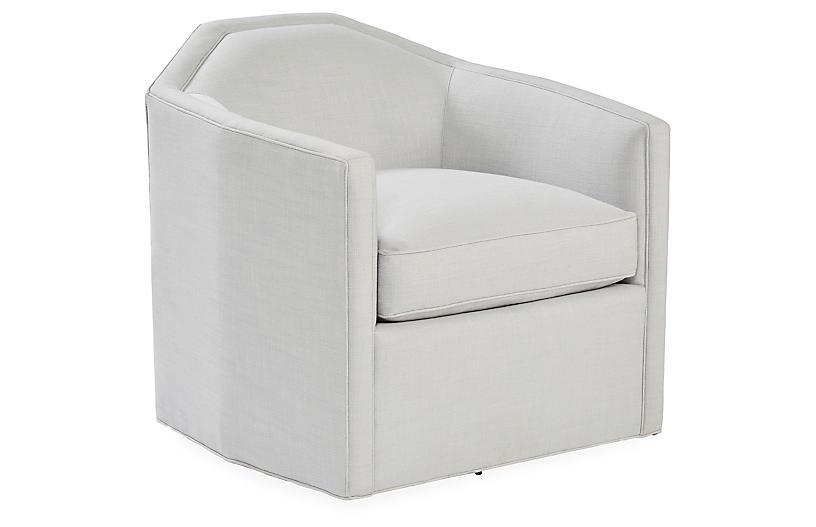 Speakeasy Swivel Club Chair, Light Gray