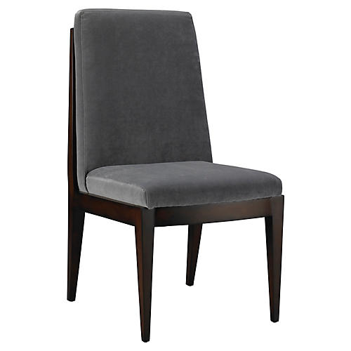 Livingston Side Chair, Slate Velvet