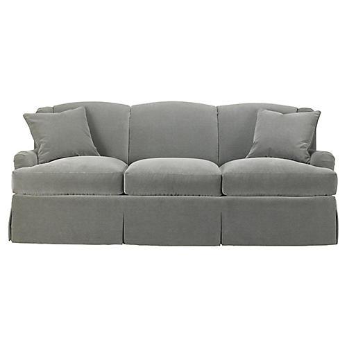 Skirted Lounge Sofa, Slate Velvet