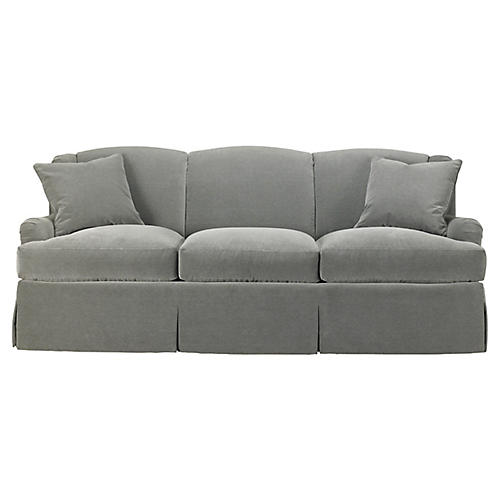 Skirted Lounge Sofa, Slate Velvet