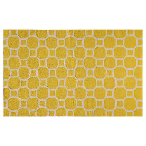 Bubble Flat-Weave Rug, Lemon