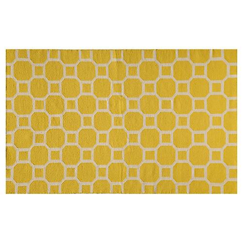 Bubble Flat-Weave Rug, Lemon
