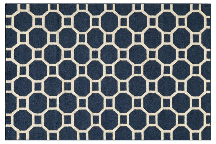 Bubble Flat-Weave Rug, Navy