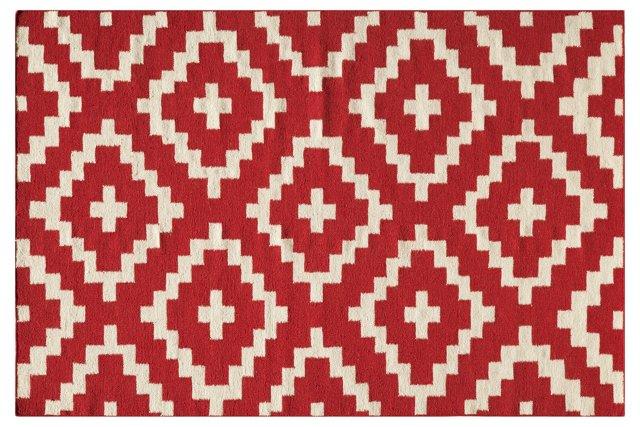Diamond Flat-Weave Rug, Red