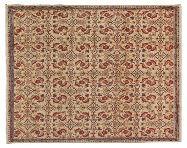 "9' x 11'5"" Persian Rug, Ivory/Blue/Red"