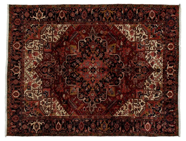 10' x 13' Persian Heriz Rug, Red/Black