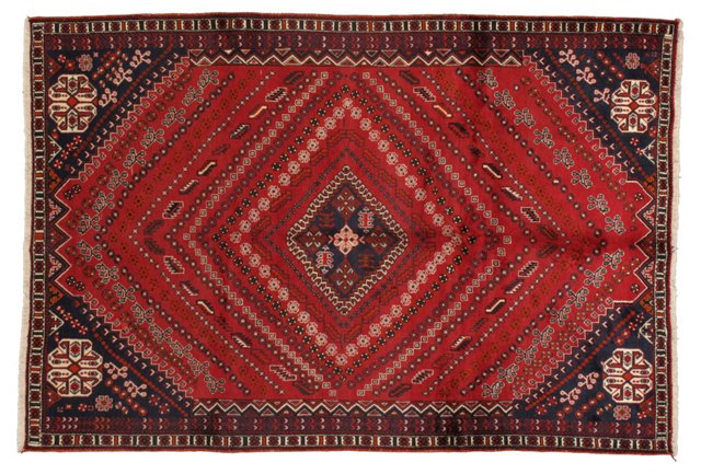 "6'7"" x 9'9"" Persian Rug, Red/Navy"