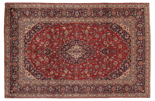 "7'11""x12'2"" Persian Kashan Rug, Navy/Red"