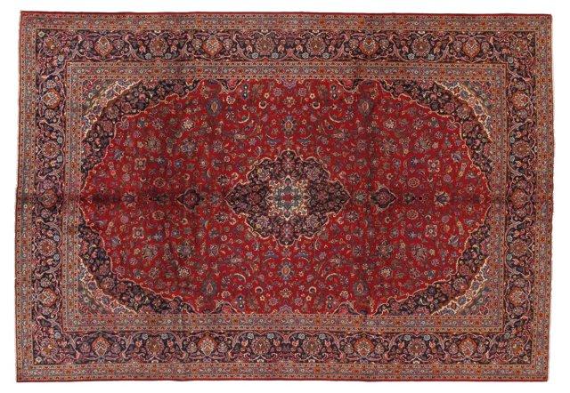 "9' x 13'2"" Persian Kashan Rug, Navy/Red"