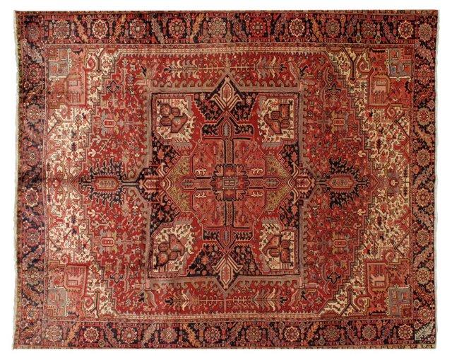"""10'5"""" x 12'2"""" Persian Heriz Rug, Red"""