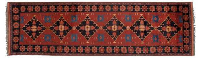 "3'1"" x 10'4"" Persian Runner, Red/Blue"