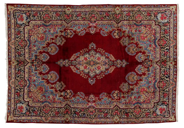"9'6"" x 13'9"" Persian Rug, Red/Light Blue"