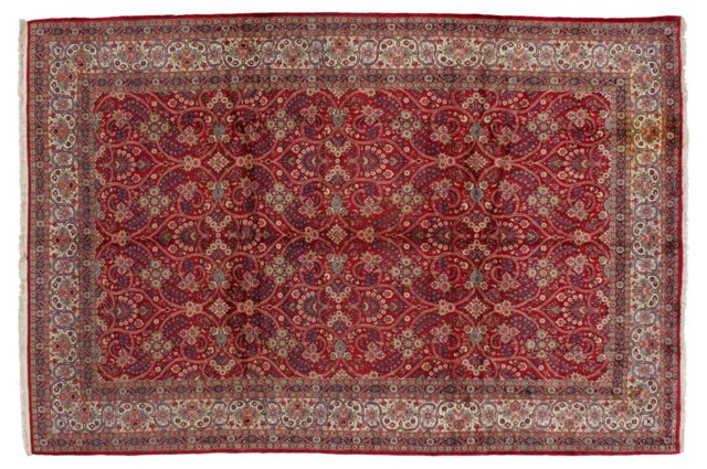 "8'2"" x 12'2"" Persian Rug, Red/Blue/Ivory"