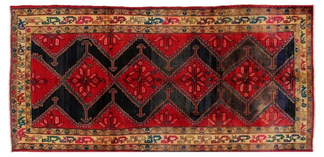"""4'10"""" x 9'11"""" Persian Rug, Gold/Red"""