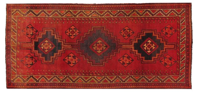 "4'9"" x 10'1"" Persian Rug, Orange/Red"